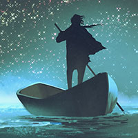 Illustration of man in a boat