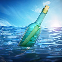Illustration of a message in a bottle